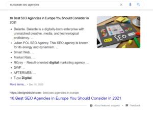 Google Rich Results - List